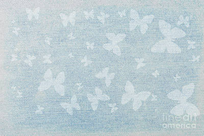 Mixed Media - Butterflies On Faded Denim by Diane Macdonald