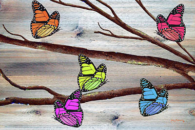 Parakeet Mixed Media - Butterflies On Rustic Background by Ken Figurski