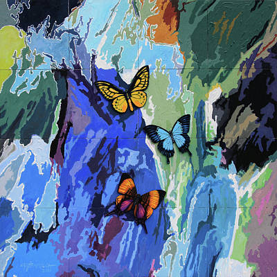 Painting - Butterflies Over Abstraction by John Lautermilch