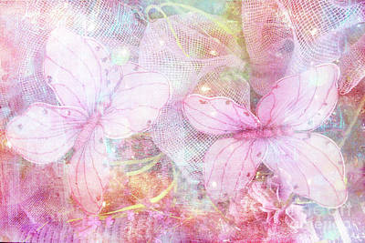 Photograph - Butterflies Pastel Pink Watercolor Decor - Pastel Pink Butterfly Butterflies Home Decor by Kathy Fornal