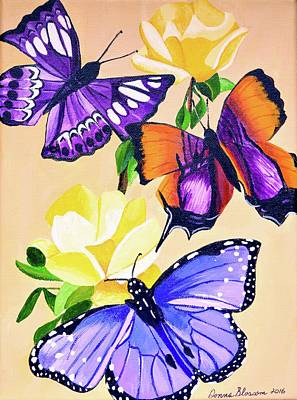 Painting - Butterflies With Yellow Roses by Donna Blossom