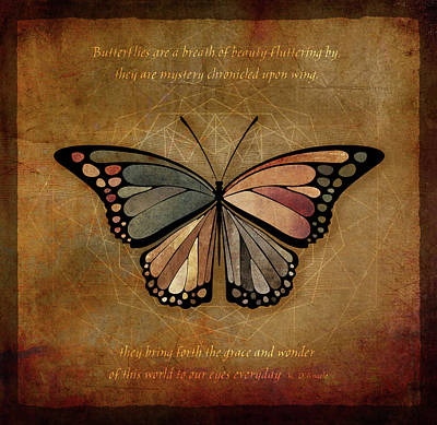 Brown Toned Art Mixed Media - Butterfly 1 by Terry Davis
