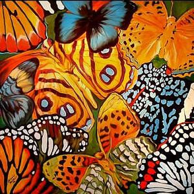 Abstract Insect Painting - Butterfly Abstract Commission by Marcia Baldwin