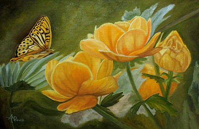 Butterfly Among Yellow Flowers Original
