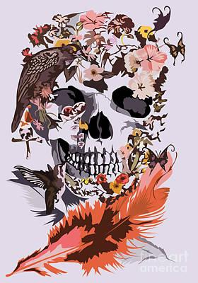 Haunted Mansion Digital Art - Butterfly And Birds Sugar Skull by Three Second