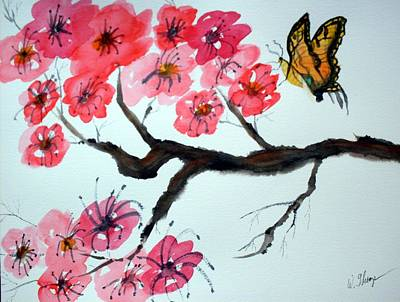 Butterfly And Blossoms Art Print by Warren Thompson