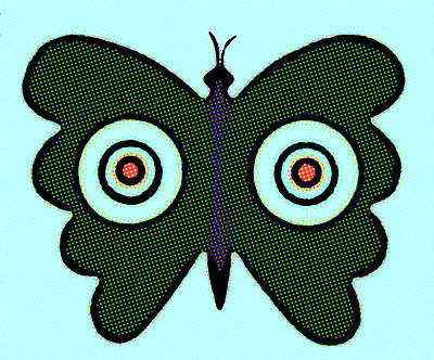 Butterfly And Bulls Eyes  Art Print by Jarmila Kostliva