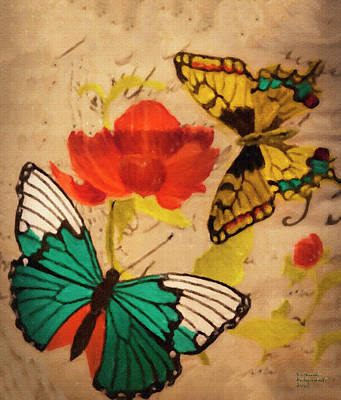 Mixed Media - Butterfly And Flower by David Millenheft