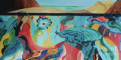 Surrealism Royalty-Free and Rights-Managed Images - Butterfly and Hand Surreal Abstract Panorama by Felipe Adan Lerma