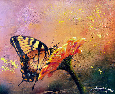 Butterfly Flowers Painting - Butterfly by Andrew King