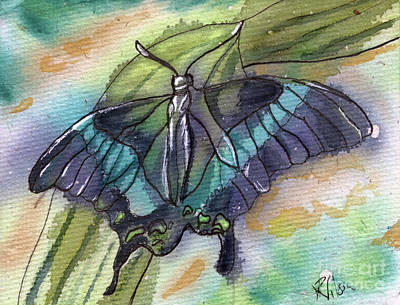 Painting - Butterfly Bamboo Black Swallowtail by D Renee Wilson