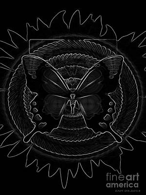 Digital Art - Butterfly / Black And White by Elizabeth McTaggart