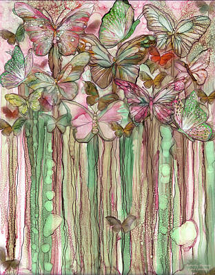 Mixed Media - Butterfly Bloomies 1 - Pink by Carol Cavalaris