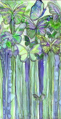 Mixed Media - Butterfly Bloomies 2 - Purple by Carol Cavalaris