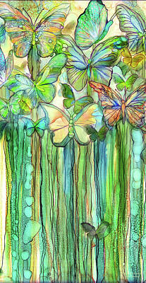 Mixed Media - Butterfly Bloomies 2 - Rainbow by Carol Cavalaris
