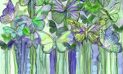 Mixed Media - Butterfly Bloomies 3 - Purple by Carol Cavalaris