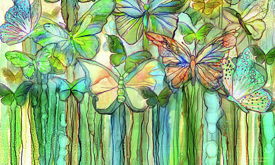 Ink Wall Art - Mixed Media - Butterfly Bloomies 3 - Rainbow by Carol Cavalaris