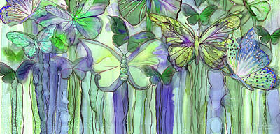 Mixed Media - Butterfly Bloomies 4 - Purple by Carol Cavalaris