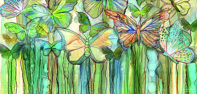 Mixed Media - Butterfly Bloomies 4 - Rainbow by Carol Cavalaris