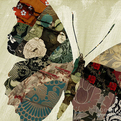 Tapestries Textiles Painting - Butterfly Brocade IIi by Mindy Sommers