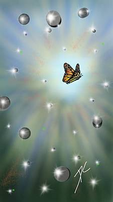 Art Print featuring the digital art Butterfly Bubbles by Darren Cannell