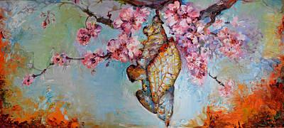 Sakura Painting - Butterfly Bud Big Painting, The Methamorphoses Of A Chrysalis, Modern Art Floral Oil  by Soos Roxana Gabriela