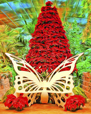 Decorative Benches Digital Art - Butterfly Christmas Fantasy by Mitch Spence