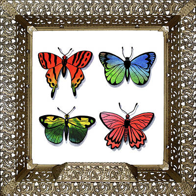 Painting - Butterfly Collection I Framed by Irina Sztukowski