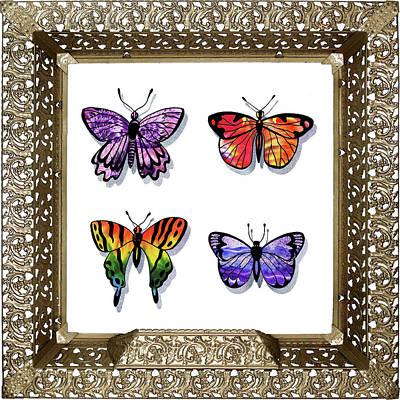 Painting - Butterfly Collection Iv Framed by Irina Sztukowski