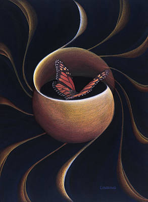 Monarch Butterfly Painting - Butterfly Crossing Through The Portal by Robin Aisha Landsong