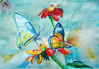 Art Print featuring the painting Butterfly Dance by Jasna Dragun