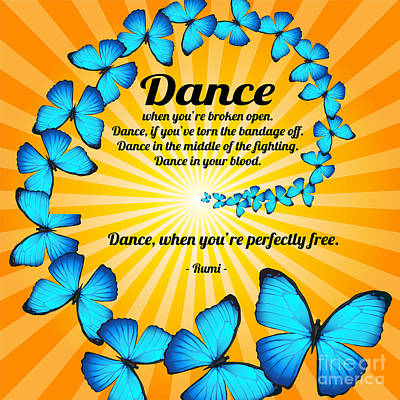 Digital Art - Butterfly Dance With Rumi by Ginny Gaura