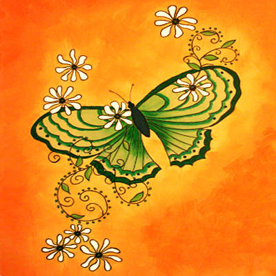 Butterfly Doodle Art Print by Karen R Scoville