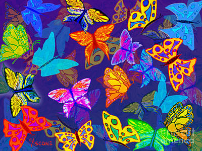 Impressionist Mixed Media - Butterfly Dreams On Indigo by Teresa Ascone
