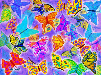 Impressionist Mixed Media - Butterfly Dreams On Purple by Teresa Ascone