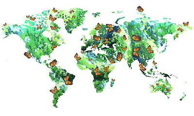Painting - Butterfly Effect World Map Watercolor by Irina Sztukowski
