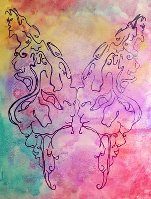 Music Map Painting - Butterfly Faces by Megan Howard