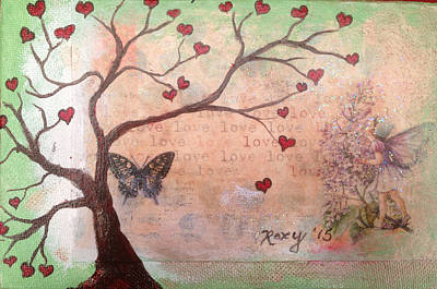 Butterfly Fairy Heart Tree Original by Roxy Rich