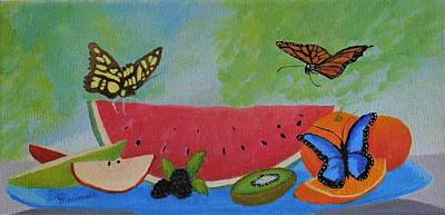 Wall Art - Painting - Butterfly Feast by Lisa MacDonald