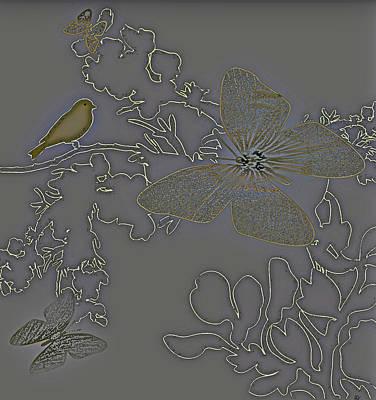 Outlook View Digital Art - Butterfly Floral  5 by Debra     Vatalaro