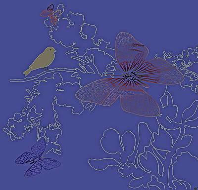 Outlook View Digital Art - Butterfly Floral  7 by Debra     Vatalaro