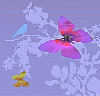Marvelous View Digital Art - Butterfly Floral  8 by Debra     Vatalaro