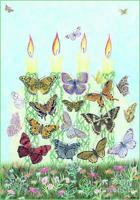 Painting - Butterfly Flutter With Candles by Lise Winne