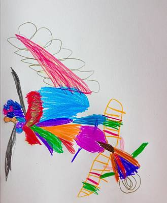 Drawing - Butterfly Friends by Olive Maeno-McGrath