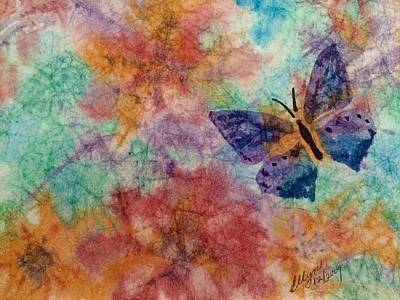 Painting - Butterfly Garden Batik Abstract  by Ellen Levinson