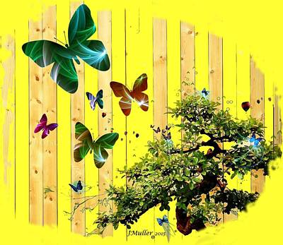 Digital Art - Butterfly Garden by Jennifer Muller