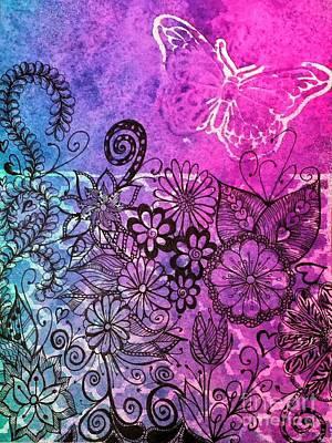 Daisy Drawing - Butterfly Garden by Nicole Johnson