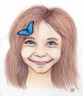 Drawing - Butterfly Girl by Marilyn Hilliard