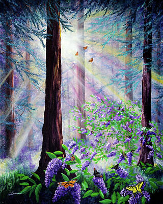 Painting - Butterfly Grove In Redwood Forest by Laura Iverson