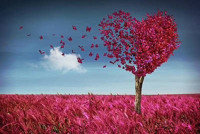 Surrealism Royalty-Free and Rights-Managed Images - Butterfly heart tree by Mihaela Pater